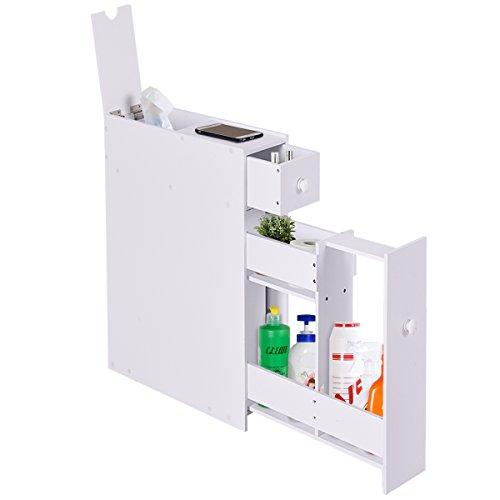 Tangkula Bathroom Wood Storage Cabinet Home Kitchen Floor