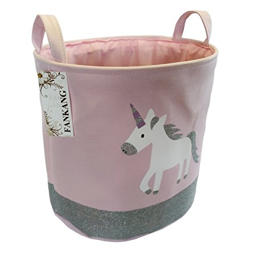 FANKANG Large Sized Gift Baskets Cute Rainbow Pattern Design Laundry Hamper Cotton Fabric Cylindric Storage Bin with Rope Handles, Decorative and Convenient for Kids Bedroom (Pink Unicorn)