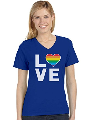 Gay Love - Rainbow Heart Gay Pride Awareness Women's Fitted V-Neck T-Shirt Medium Blue