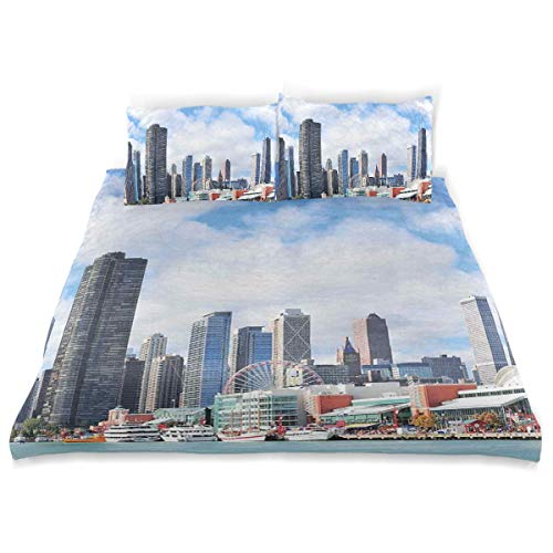 YCHY Decor Duvet Cover Set, Cloudy Sky On City Contemporary Downtown States Country Office Panorama A Decorative 3 Pcs Bedding Set with Pillowcases, King
