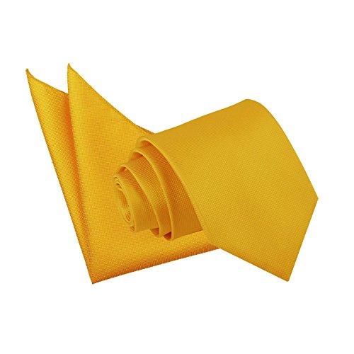 Standard Plain Gold Solid Check Sunflower Hanky Tie Wedding Men's DQT Neck XZqdX
