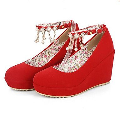 RTRY Las Mujeres'S Wedding Shoes Confort Pu Otoño Invierno Casual Parte &Amp; Noche Comfort Negro Rubí 4A-4 3/4 Pulg. US6 / EU36 / UK4 / CN36