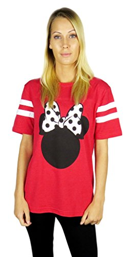 Disney Womens Minnie Mouse Varsity Football Tee X-large Red Heather
