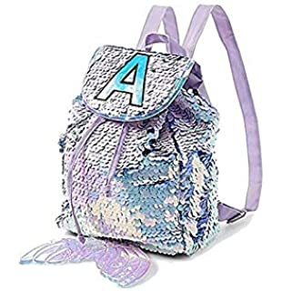 Justice Mini Small Backpack Rucksack Flip Sequin Lilac Mermaid Initial (Letter C)
