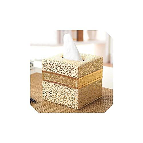 Napkin Holder Rack Napkin Holder Pu Leather Paper Hotel Durable Cover Storage Container Square Home Box Tissue Box Car,White Gold