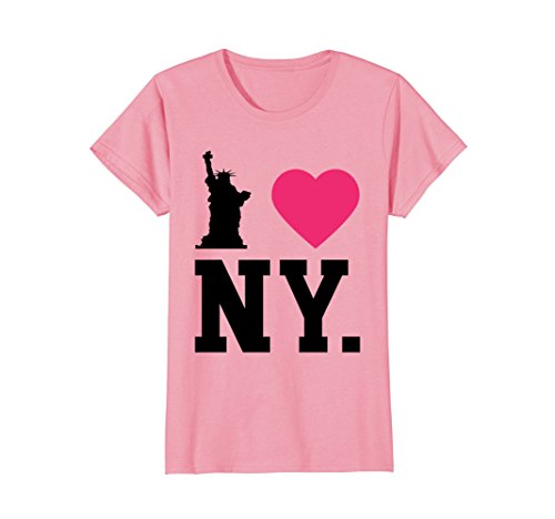 Womens T-shirt York Pink New (Womens I Love NY New York Print Heart T-Shirt tee Black XL Pink)