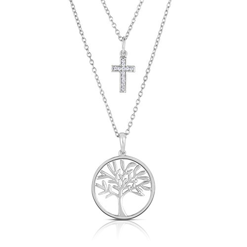 - Blowout Sale City of Hope Diamond Tree of Life and Diamond Cross Pendant in Sterling Silver