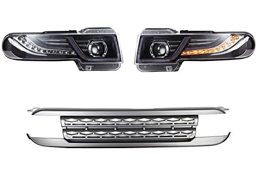 MOSTPLUS Led Halo Projector Headlights with Grille lamp Fits for Toyota FJ Cruiser 2007 2008 2009 2010 2011 2012 2013 2014 2015 (Set of 2) - Fj Cruiser Grill