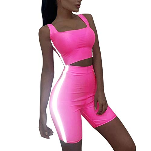Womens Sports 2 Piece Outfit Fluorescent Prined Tanka Tops Bodycon Shorts Sets Yoga Running Tracksuit Suit Sweatsuit Sets (Pink, L)