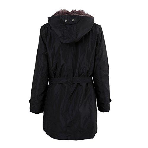 S capucha Larga caliente abrigo R Chaqueta del la Abrigo SODIAL con capa caliente mujeres espesan invierno anorak Negro x6wZT5P4