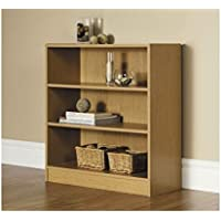 Mainstays 3-Shelf Bookcase | Wide Bookshelf Storage Wood Furniture (Oak)