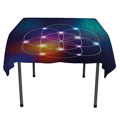 Circle tablecloth clear protector Digital Overlapping Circles Grid Geometric Centered on Triangles Esoteric Energy Motif Indigo tablecloth for picnic tables Spring/Summer/Party/Picnic 60 By 60