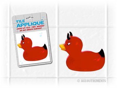 Red Devil Duck Applique for Tiles, Tubs, Mirrors, and Glass