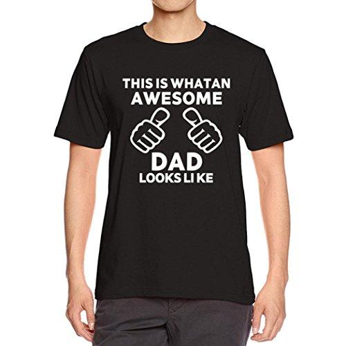 Bluestercool Hommes Été Lettres Imprimé Manche Courte Col Rond T-shirt pour Fête des pères Noir