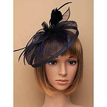 c0dff4b73461d Large Navy Blue Hat Fascinator Weddings Ladies Day Race Royal Ascot:  Amazon.co.uk: Beauty