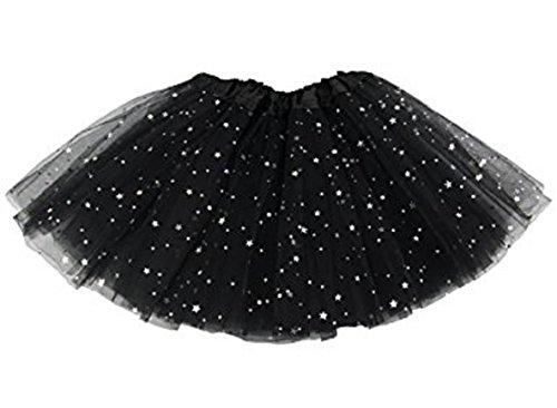 Girls Tutu - Glitter Tutu Tulle Skirt Soft Triple Layer Ballet Dress (Black Tutu Kids)