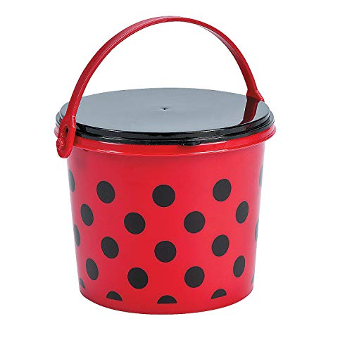 Fun Express - Little Ladybug Plastic Pails for Birthday - Party Supplies - Containers & Boxes - Plastic Containers - Birthday - 12 -