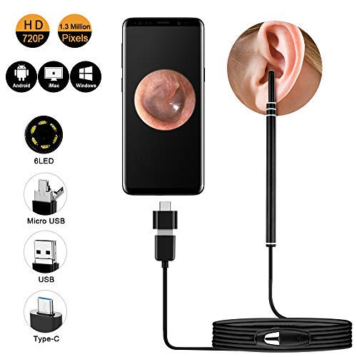 Ear Otoscope, USB Ear Cleaning Endoscope CAFELE Digital Ear Scope Inspection Camera with 6 Adjustable LEDs for Micro USB  USB-C Android Devices, Windows  MAC PC Computer
