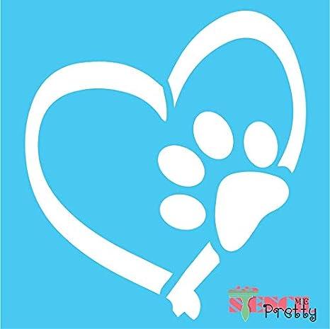 Amazon De Dog Paw Print Herz Schablone Diy Hundehutte Schild Pet Love Vorlage S 12 5 X 14