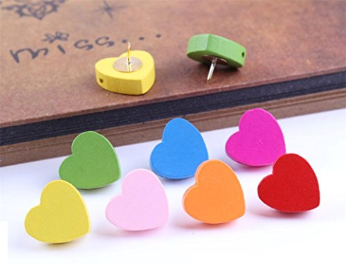 Decorative Cute Cartoon Animal Push Pins for Home & Office Thumbtacks Travel Map Tacks for Cock Board Whiteboard Wall (5pcs Heart Shape) ()