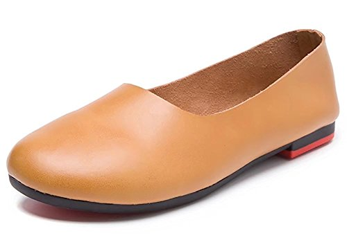 Kunsto Women's Genuine Leather Comfort Glove Shoes Ballet Flat US Size 9 Camel C - Leather Ladies Womens
