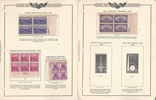 United States Stamp Collection Mint Plate Blocks 1938-48 Minkus Album, JFZ