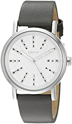 DKNY Women's NY2421 SOHO Stainless Steel Watch with Grey Leather Band