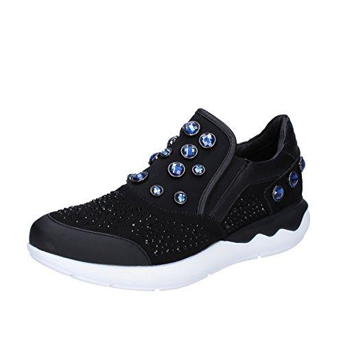 Donna Tessuto Emanuelle Strass Camoscio Slip Blu Nero On Sintetico Sneakers Vee 455wRxBO