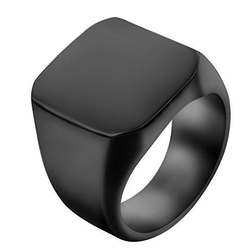 JewelryWe Schmuck Biker Edelstahl Herren-Ring, Glänzend Poliert Siegelring Quadrat Band Ring, Gold Größe 54 bis 74 – mit Geschenk Tüte