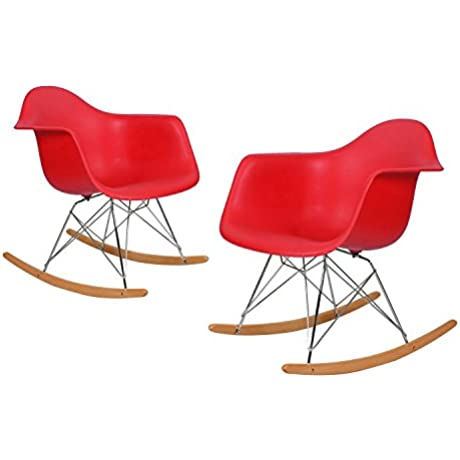 Charles Ray Eames Modern Rocking Armchair Rocker Reception Seat Set Of 2