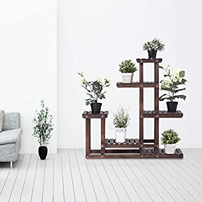 Happygrill Wooden Flower Rack Plant Stand, Large Multi Tier Plant Shelves, Bonsai Display Shelf Stand, Indoor Outdoor Yard Garden Patio Balcony Flower Storage Rack : Garden & Outdoor