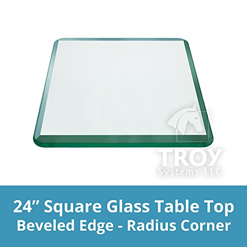TroySys Square 1/2 Inch Thick Bevel Polished Annealed Glass Table Top Radius Corner, 24' L