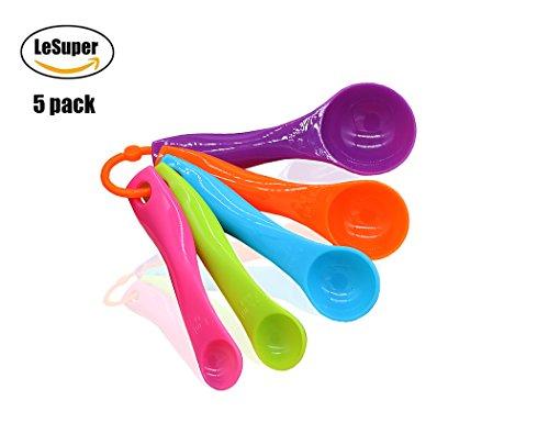 Lesuper Kitchen Classic Plastic Color Decorative Measuring Spoons Set Contains Teaspoons Tablespoons, Set of 5 (set of 5) - Classic Measuring Spoons