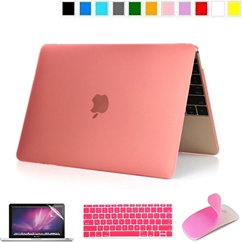 Applefuns(TM) 4 in 1 Kit Matte Hard Shell Case + Keyboard Cover + Screen Protector + Silicone Mouse Sticker for Apple The New Macbook 12 inch with Retina Dispaly (pink)