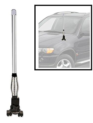 RIDAR Bobber Decorative Spring Car Antenna Rod Length 2 foot Chrome