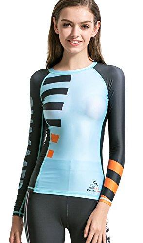 Dive & Sail Rash Gurad Women Long Sleeve UPF 50+ Sun Production Swimsuit Rashguard Top For Surfing Shirt