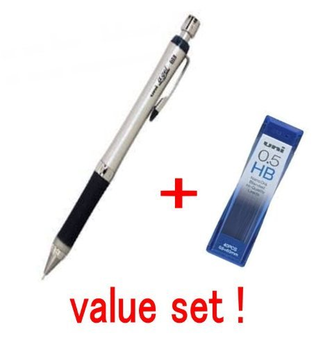 Uni-ball Alpha-gel Mechanical Pencil 0.5mm Black Gilp Slim Type & Mechanical Pencil Leads 0.5mm 40 Leads Value Set