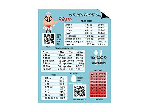Magnetic Kitchen Conversion Chart for - Converting Metric Imperial Liquid Dry Weight Temperature (Cooking Baking)