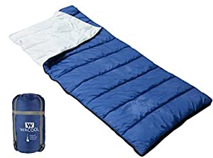 WACOOL Envelope Sleeping Bag, Extra Large 78 x 32in, Comfort Temperature Range of 41-68°F. Great for 3 Season and Warm Weather. With Compression Sack. Free Inflatable Pillow Included.