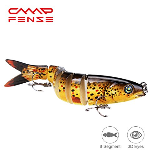 CampFENSE Fishing Lure Bait, 8-Segment, 3D Eyes, Extra-Large, Tackle 6# High Carbon Steel Anchor Hook 4 Color Options 5.23Inch / 0.67Oz (A)