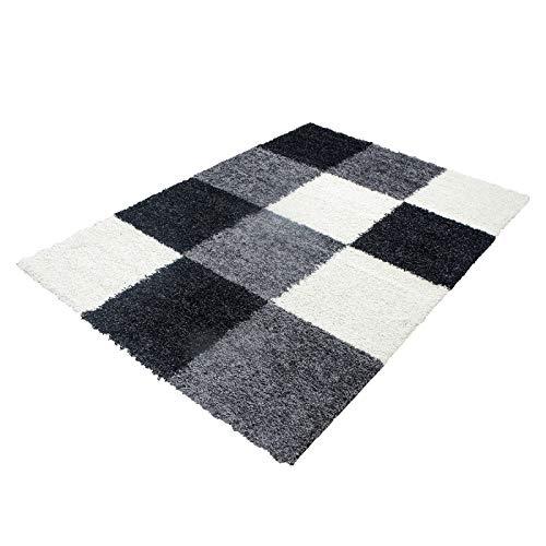 Carpet 1001 Hochflor Hochflor Hochflor Langflor Wohnzimmer Shaggy Teppich kariert Schwarz Weiss Grau - 200x290 cm B079F1GTSR Teppiche & Lufer 7271d4