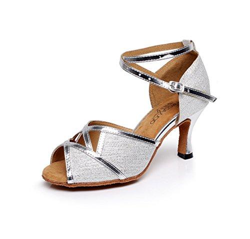 Silver Mujer Ballroom Zapatos De Tango Salsa Our40 Glitter UK6 Baile Latin Sexy Para EU39 Graphics heeled6cm JSHOE p7TnX0Wp