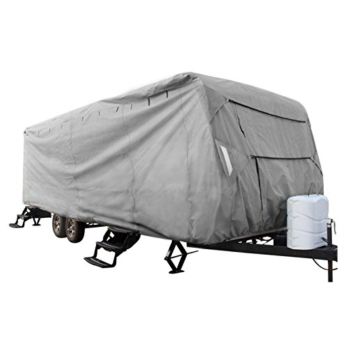 XGear Outdoors Travel Trailer RV Cover, Fits 18' - 20' Travel Trailer or Toy Hauler, with 3-Ply Roof for Max Weather Protection, Grey (Trailers Rv Toy Haulers)