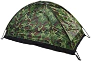 Camouflage Tent, UV Protection Up to 40+ Camping Dome Tent Sturdy and Durable One Person Tent Silver Coating O