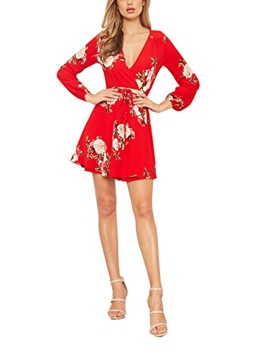 FFLMYUHULIU Women's Sexy V-Neck Floral Print Vintage Long Sleeve Wrap Short Mini Dress (L, 014-Cherry)