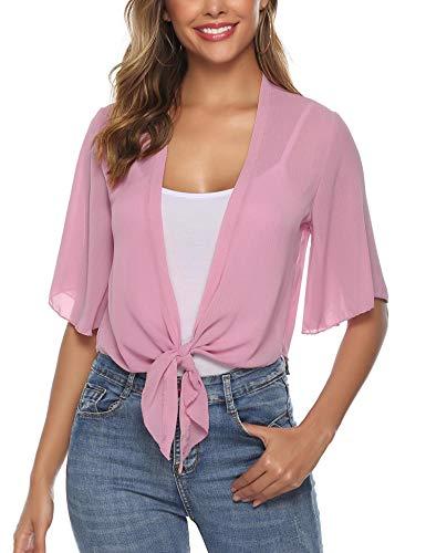 iClosam Women Half Sleeve Tie Front Chiffon Bolero Shrugs Open Front Cardigan (Deep Pink, Medium) ()