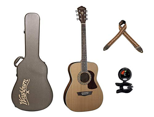 Washburn Heritage Series Acoustic Folk Guitar - Solid Red Cedar Top+Washburn Deluxe Hard Case for Folk Acoustic Guitars+ Snark SN-5 Clip-On Tuner+ Levy's Leathers 2 Jacquard Weave Guitar Strap