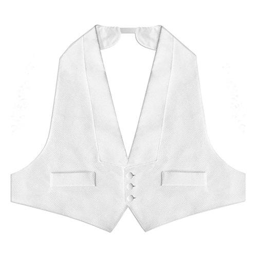 Men's Elegant White Pique Vest with Pre-tied Pique Bow Tie (FIT-ALL)