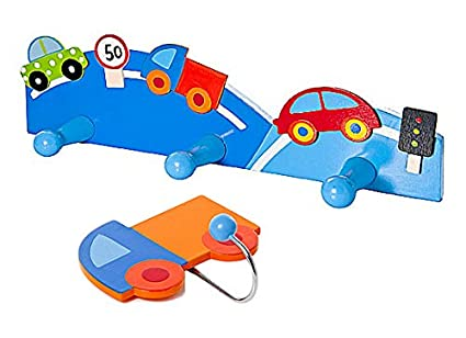 amazon com kids car and truck themed coat hooks for boys nursery or