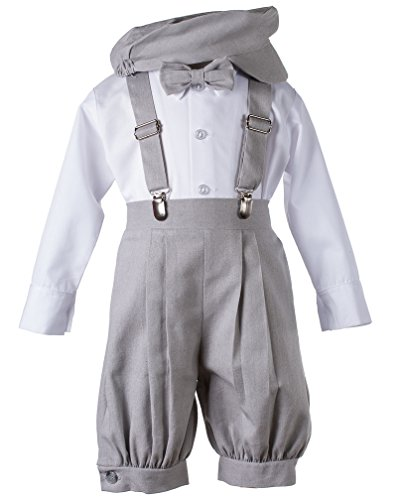 Tuxgear Boys Light Grey Linen Knickerbocker 5 Piece Set, Toddler 4 ()